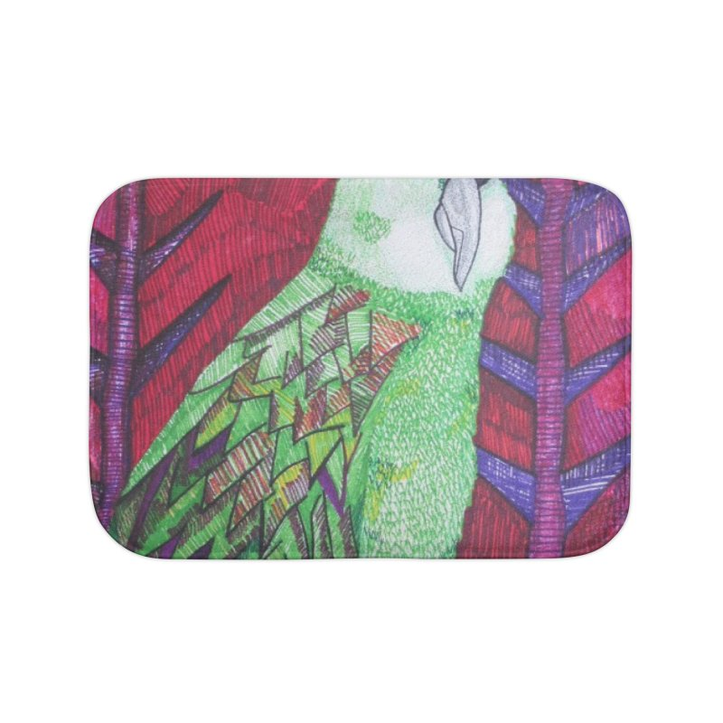 Michael the Parrot Home Bath Mat by Studio Art 101's Art Shop