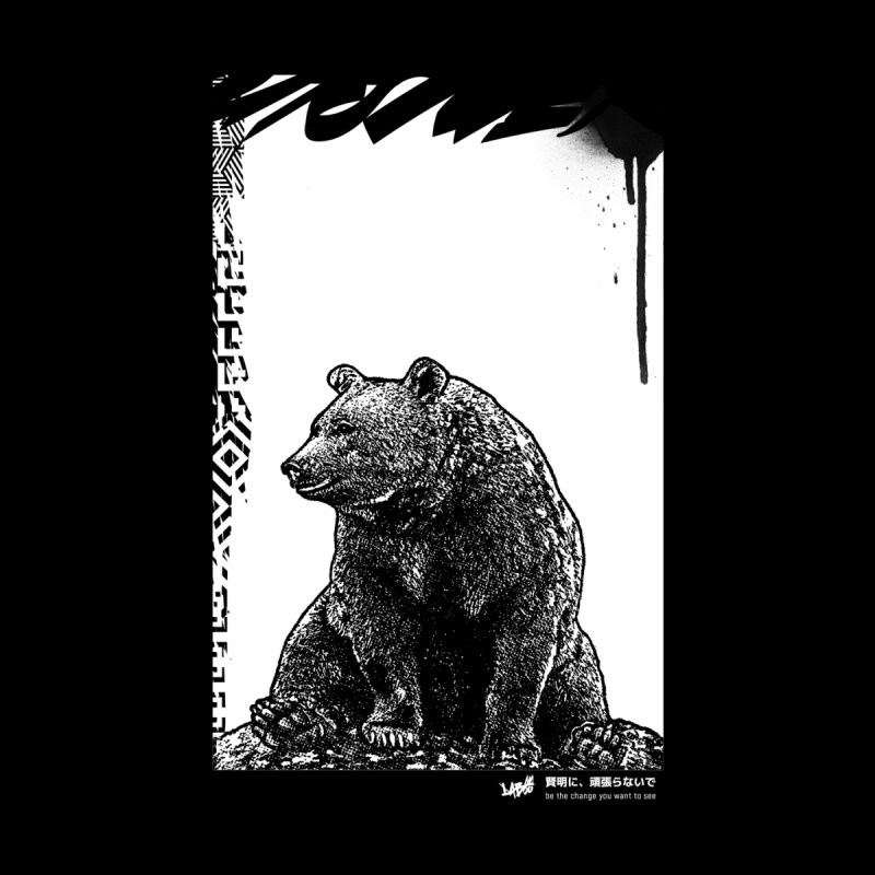 BEAR (Black&White) Women's V-Neck by StudioDaboo's Artist Shop