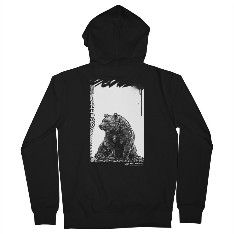 BEAR (Black&White) Women's Zip-Up Hoody by StudioDaboo's Artist Shop