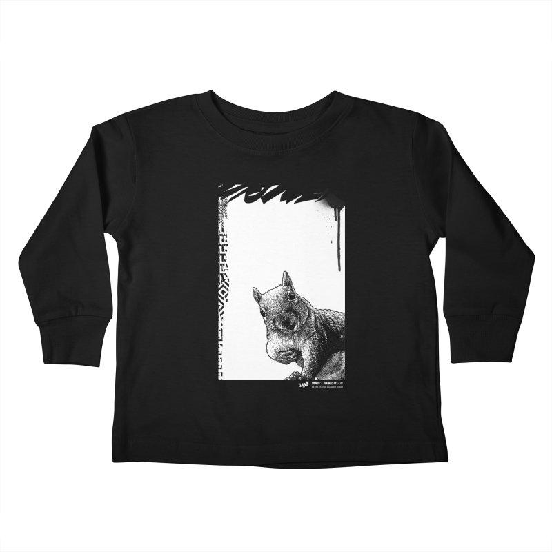 Chipmunk (Black&White) Kids Toddler Longsleeve T-Shirt by StudioDaboo's Artist Shop