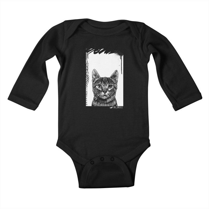 Cat (Black&White) Kids Baby Longsleeve Bodysuit by StudioDaboo's Artist Shop