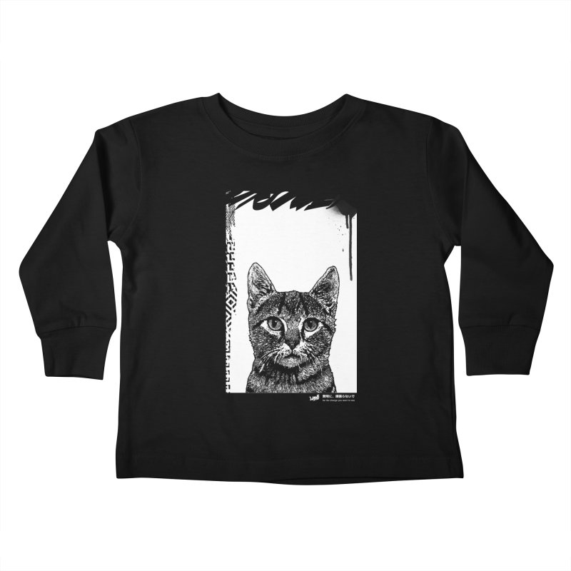 Cat (Black&White) Kids Toddler Longsleeve T-Shirt by StudioDaboo's Artist Shop