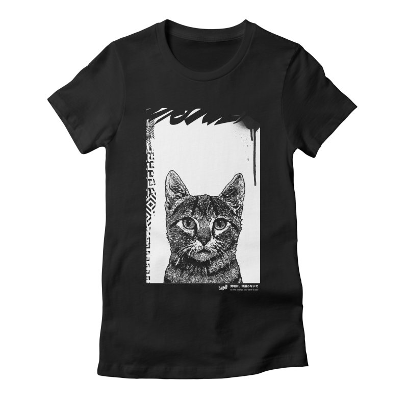 Cat (Black&White) Women's T-Shirt by StudioDaboo's Artist Shop