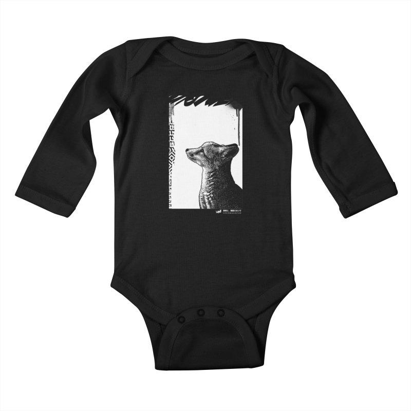 Fox (Black&White) Kids Baby Longsleeve Bodysuit by StudioDaboo's Artist Shop