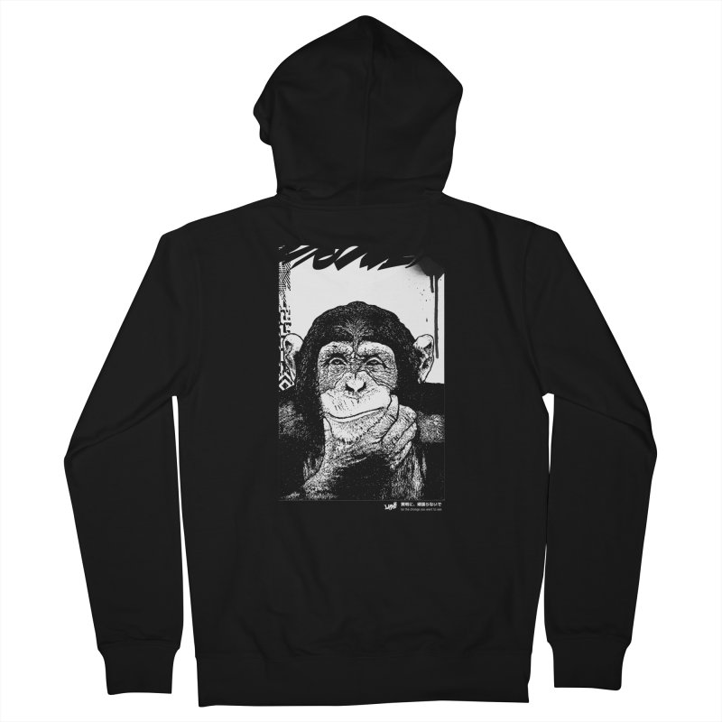 Chimp (Black&White) Men's Zip-Up Hoody by StudioDaboo's Artist Shop