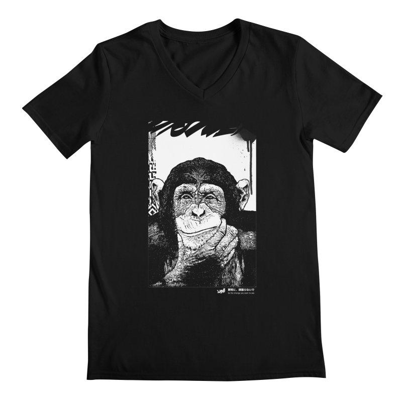 Chimp (Black&White) Men's V-Neck by StudioDaboo's Artist Shop
