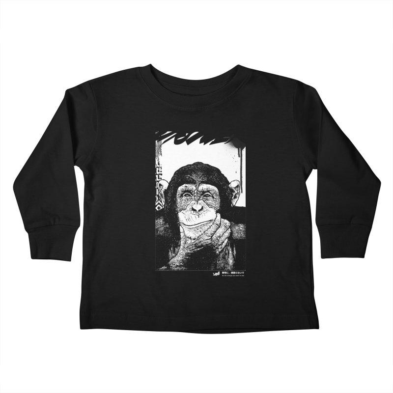 Chimp (Black&White) Kids Toddler Longsleeve T-Shirt by StudioDaboo's Artist Shop