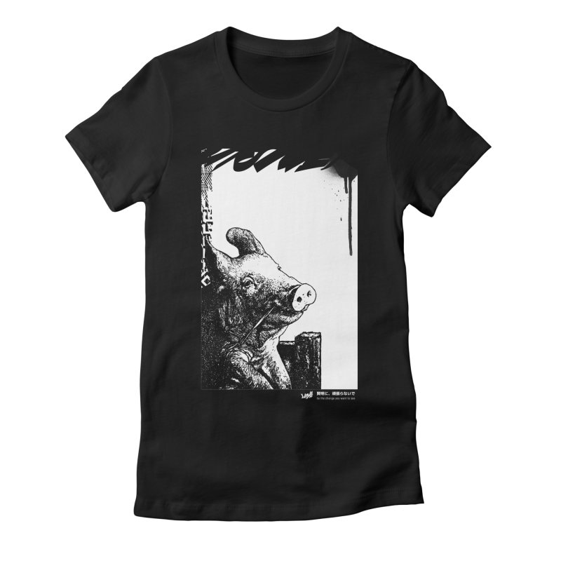 Pig (Black&White) Women's T-Shirt by StudioDaboo's Artist Shop
