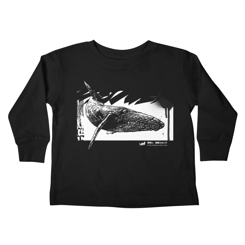Whale II (Black&White) Kids Toddler Longsleeve T-Shirt by StudioDaboo's Artist Shop