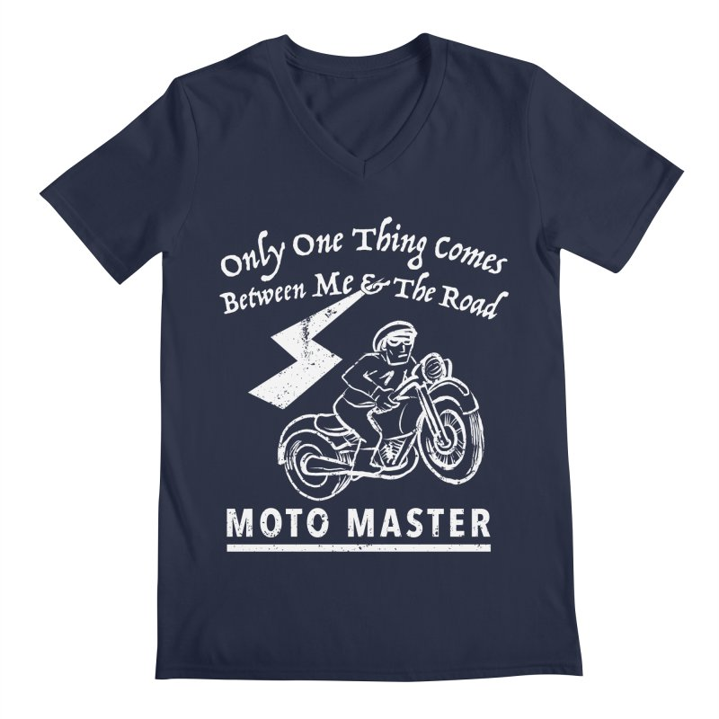 MOTO MASTER Men's Regular V-Neck by STUDIO FORONDA DESIGN SHOP