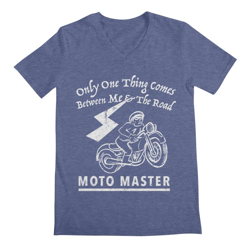 MOTO MASTER Men's Regular V-Neck by STUDIO FORONDA DESIGN SHOP