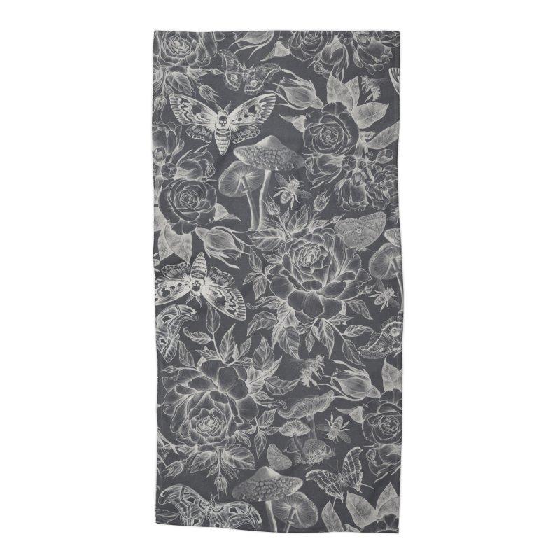 Botanical Pattern Graphite Accessories Beach Towel by Studio Vickn Artist Shop