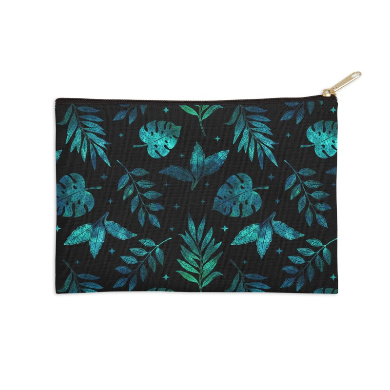 Galactic Green Leaves Accessories Zip Pouch by Studio Vickn Artist Shop