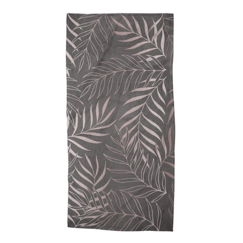 Graphite/Pink Foliage Accessories Beach Towel by Studio Vickn Artist Shop