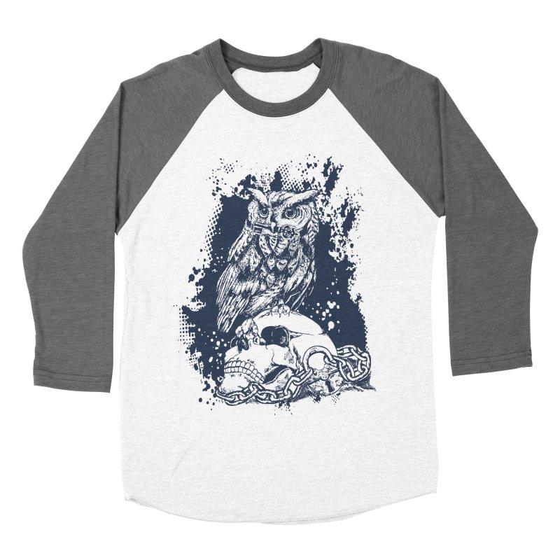 OwlSkull Men's Baseball Triblend T-Shirt by studiovii's Artist Shop