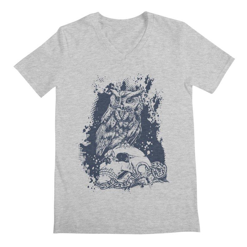 OwlSkull Men's V-Neck by studiovii's Artist Shop