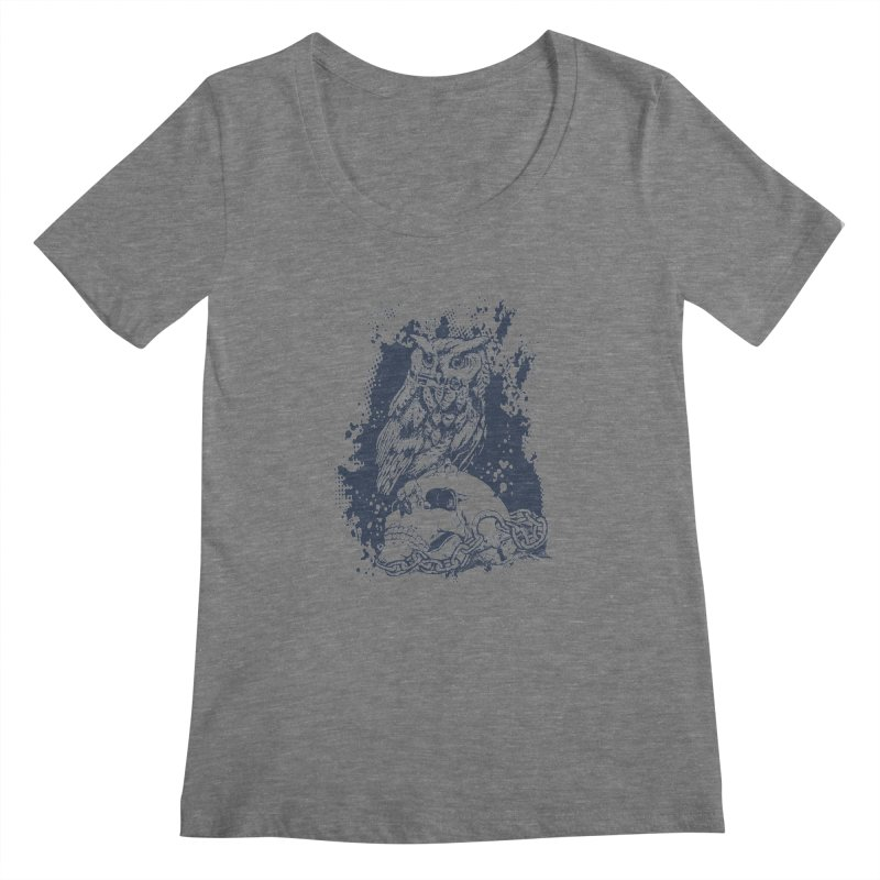 OwlSkull Women's Scoopneck by studiovii's Artist Shop