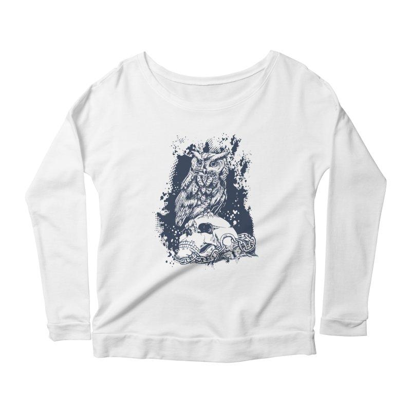 OwlSkull Women's Longsleeve Scoopneck  by studiovii's Artist Shop