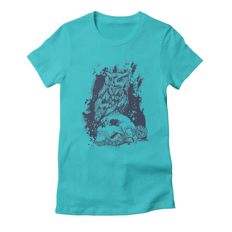 OwlSkull Women's Fitted T-Shirt by studiovii's Artist Shop