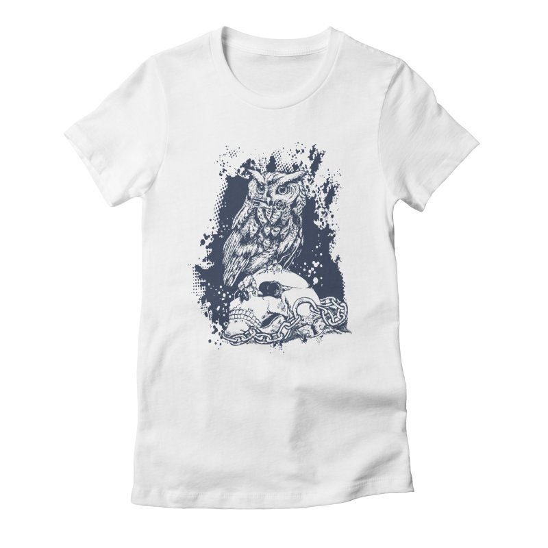 OwlSkull Women's Fitted T-Shirt by studiovii's Artist Shop