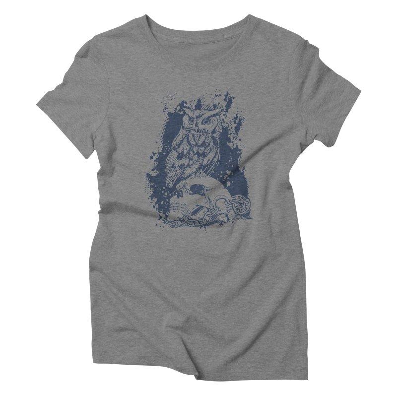 OwlSkull Women's Triblend T-Shirt by studiovii's Artist Shop