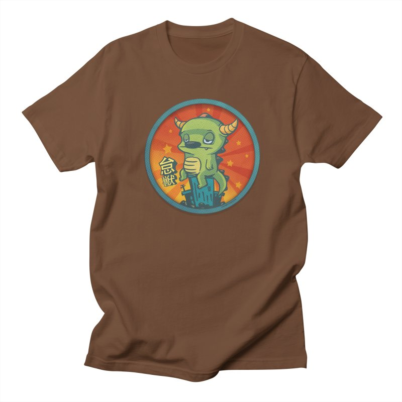 Lazy Kaiju in Men's Regular T-Shirt Brown by stumpytown