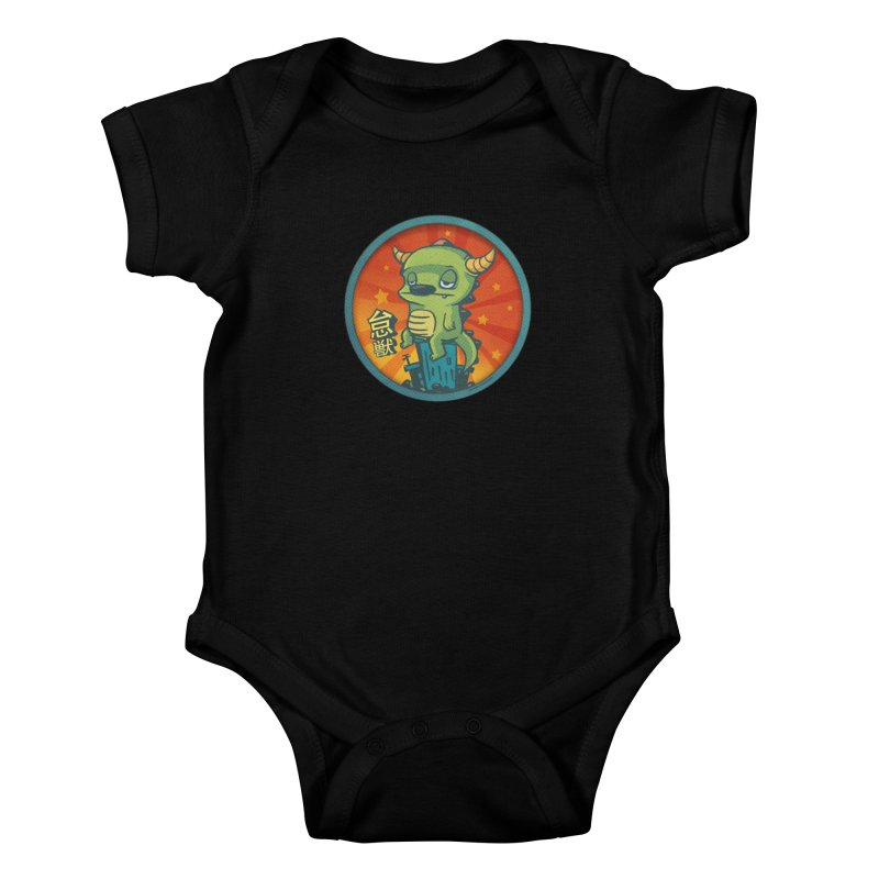Lazy Kaiju Kids Baby Bodysuit by stumpytown