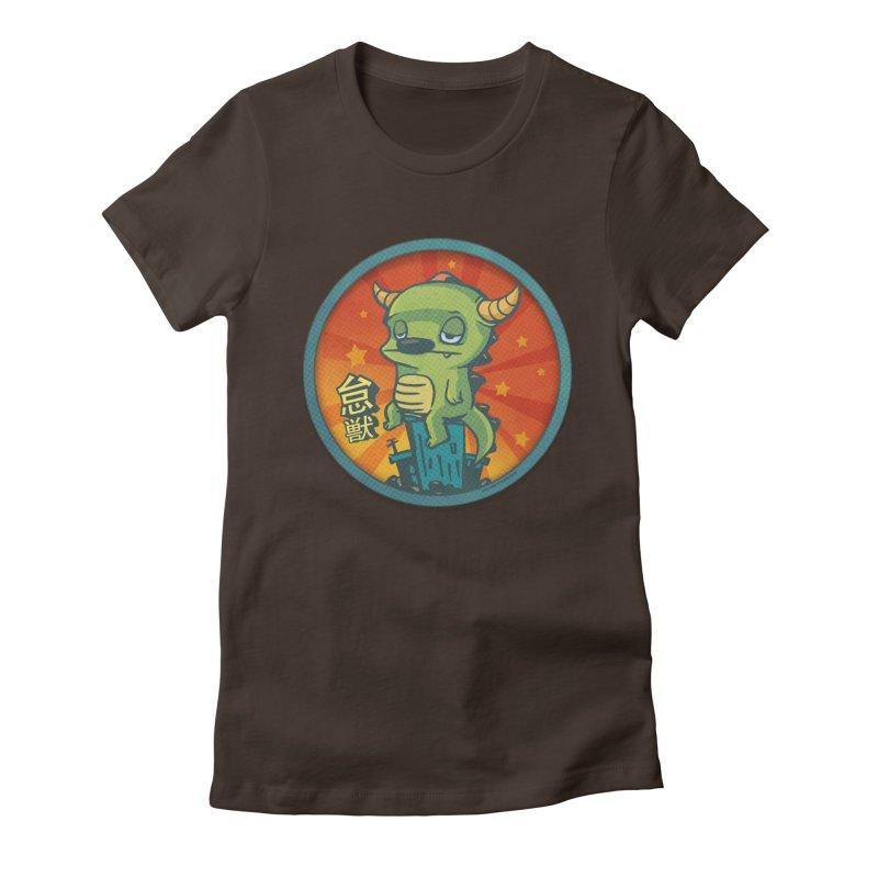 Lazy Kaiju Women's Fitted T-Shirt by stumpytown