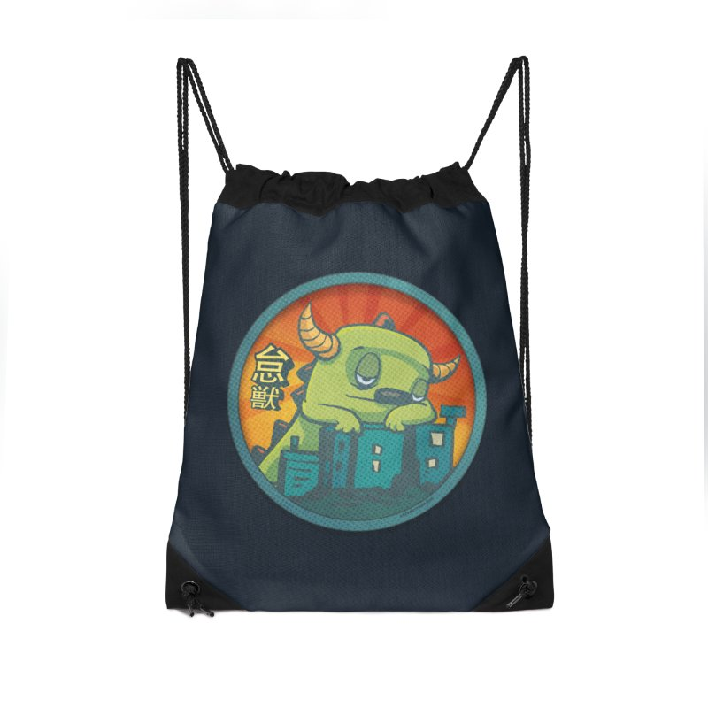 Lazy Kaiju.  Maybe tomorrow. Accessories Drawstring Bag Bag by stumpytown