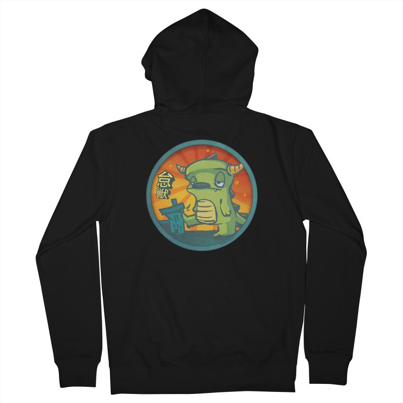 Lazy Kaiju. I'm done for the day. in Women's French Terry Zip-Up Hoody Black by stumpytown