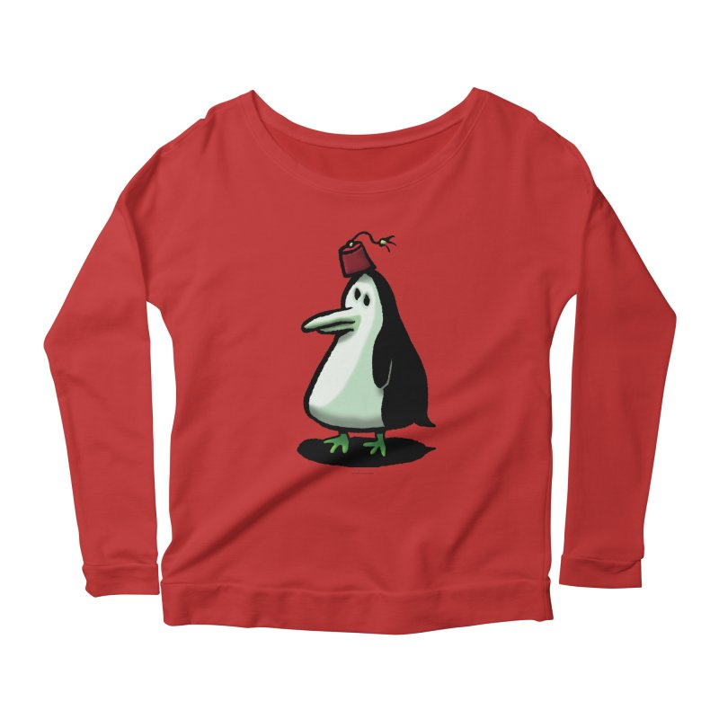 Squirmish Card A44: MASTER PENGU Women's Scoop Neck Longsleeve T-Shirt by STWALLSKULL's Shirt Shack