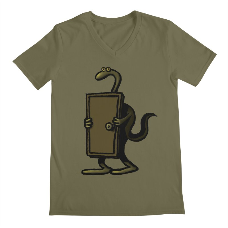 Squirmish Card A63: THE KNOCKLESS MONSTER Men's Regular V-Neck by STWALLSKULL's Shirt Shack