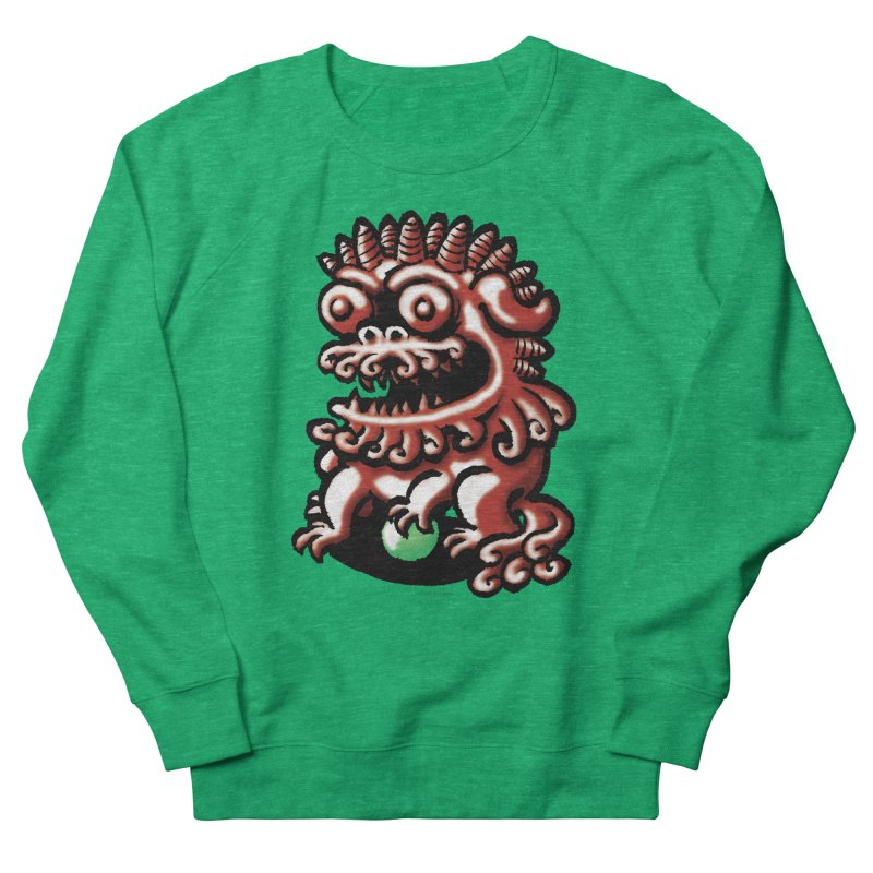 Squirmish Card A66: FOO DOG Women's French Terry Sweatshirt by STWALLSKULL's Shirt Shack