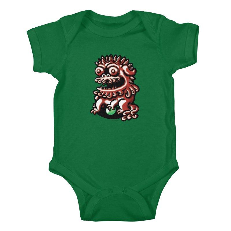 Squirmish Card A66: FOO DOG Kids Baby Bodysuit by STWALLSKULL's Shirt Shack
