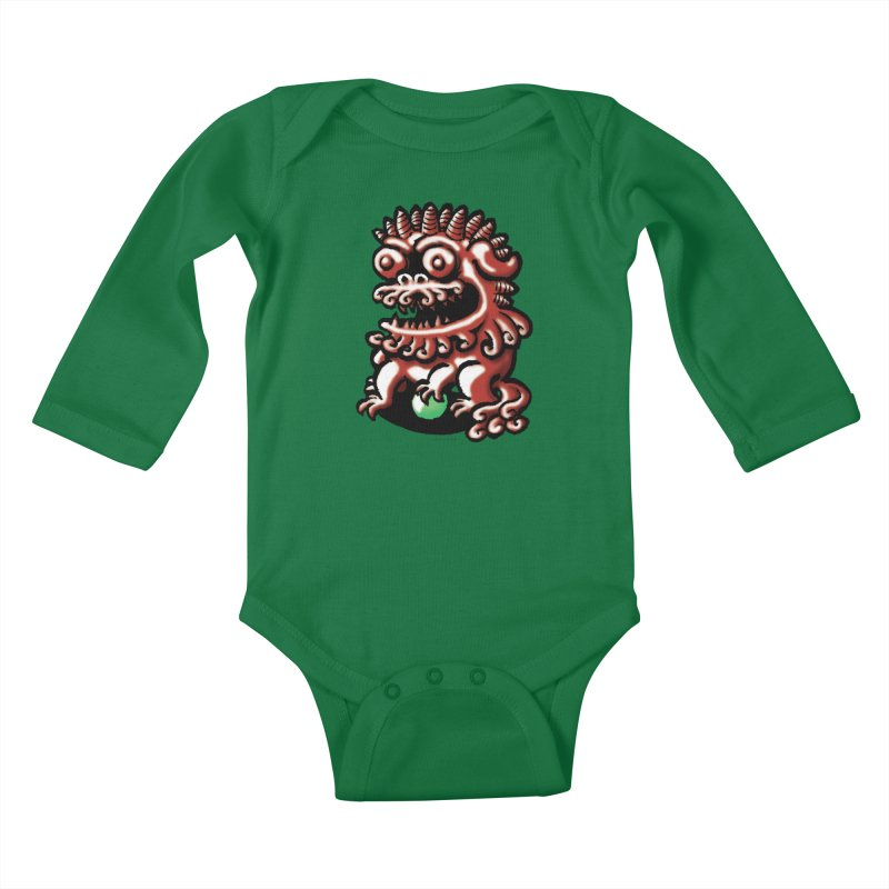 Squirmish Card A66: FOO DOG Kids Baby Longsleeve Bodysuit by STWALLSKULL's Shirt Shack