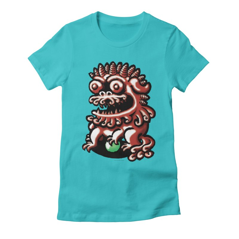 Squirmish Card A66: FOO DOG Women's Fitted T-Shirt by STWALLSKULL's Shirt Shack