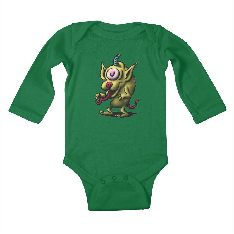 Squirmish Card A67: UNO OJO Kids Baby Longsleeve Bodysuit by STWALLSKULL's Shirt Shack