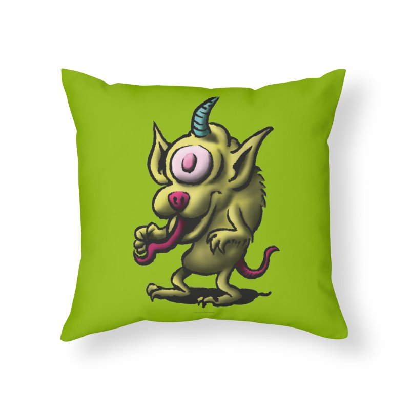 Squirmish Card A67: UNO OJO Home Throw Pillow by STWALLSKULL's Shirt Shack