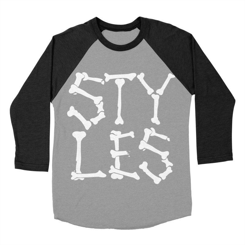 Styles in Bones Men's Baseball Triblend Longsleeve T-Shirt by Styles in Black