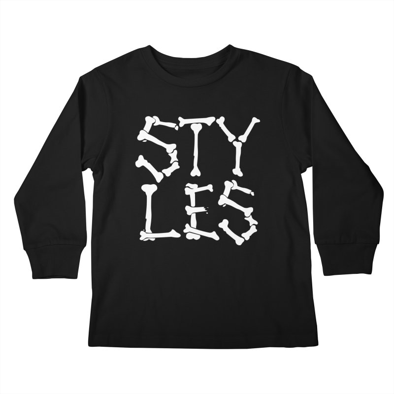 Styles in Bones Kids Longsleeve T-Shirt by Styles in Black