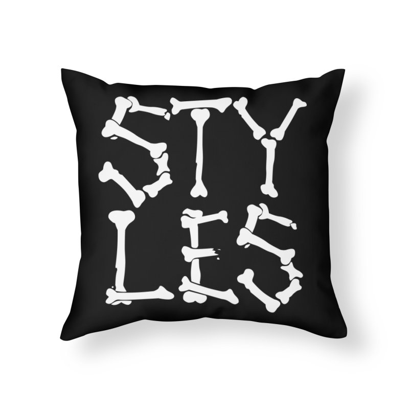 Styles in Bones Home Throw Pillow by Styles in Black