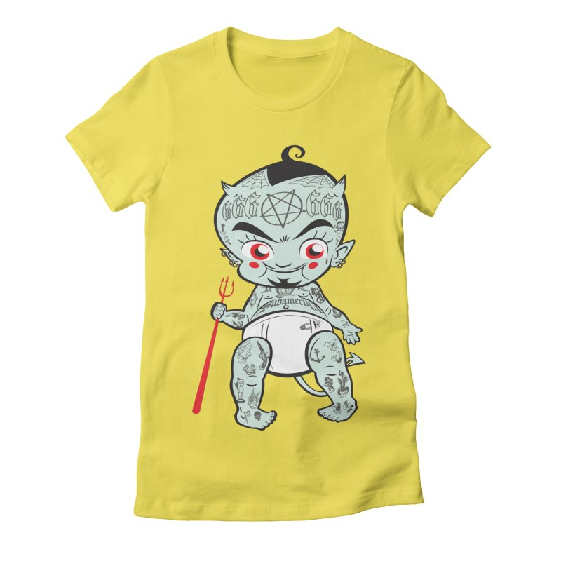 Little devil in Women's Fitted T-Shirt Vibrant Yellow by monoestudio's Artist Shop