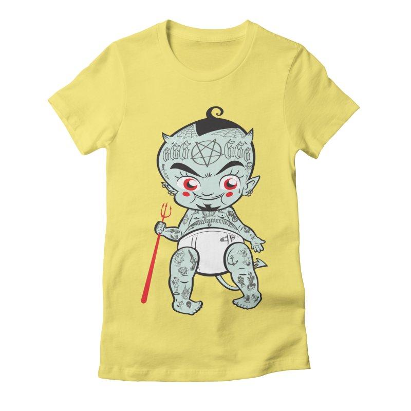 Little devil in Women's Fitted T-Shirt Light Yellow by monoestudio's Artist Shop