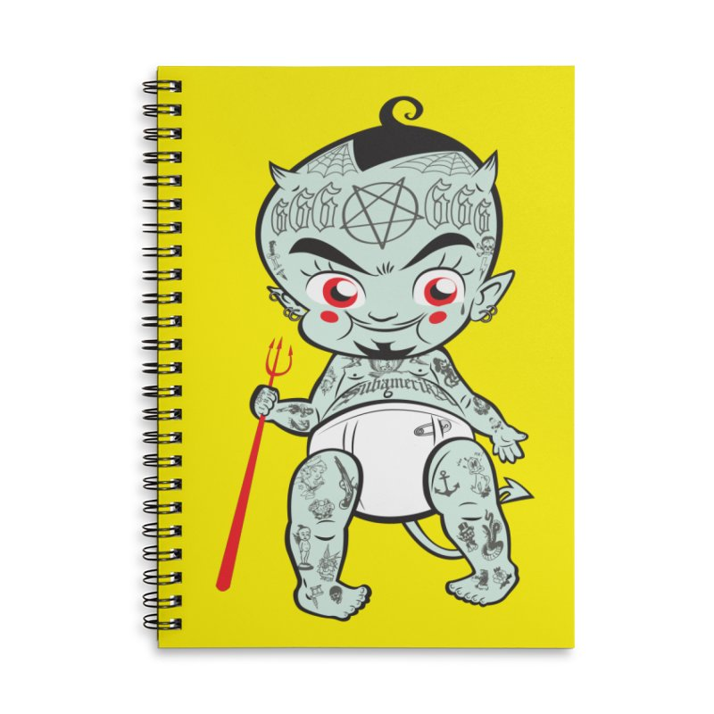 Little devil Accessories Lined Spiral Notebook by monoestudio's Artist Shop