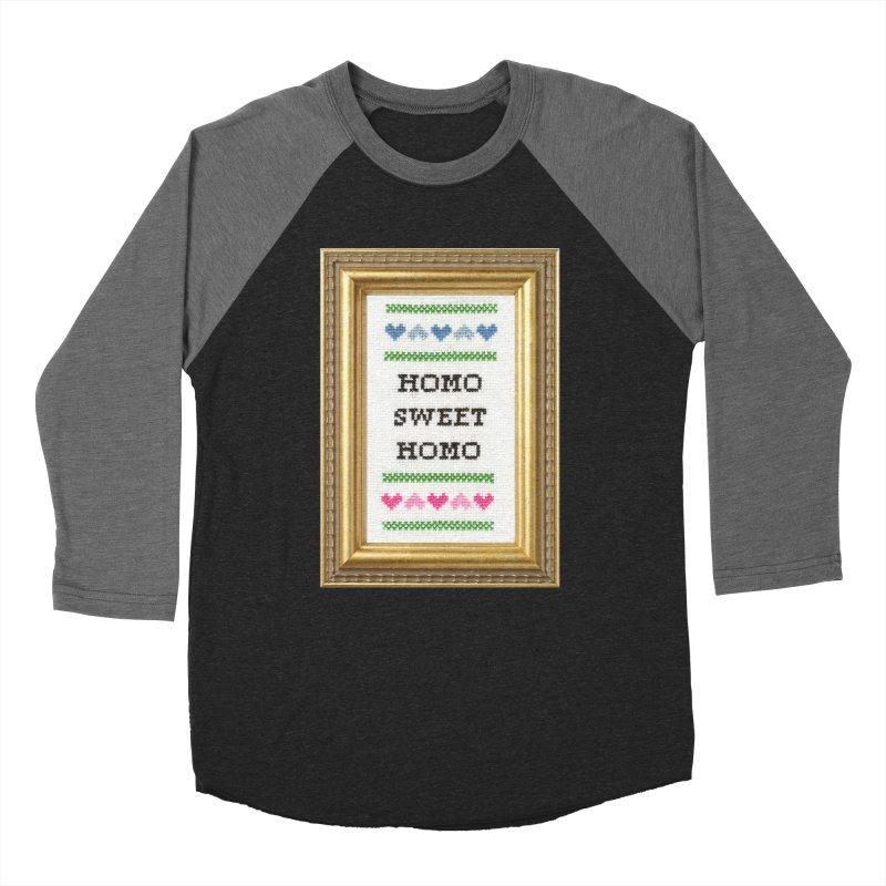 Homo Sweet Homo Men's Baseball Triblend T-Shirt by subversivecrossstitch's Artist Shop