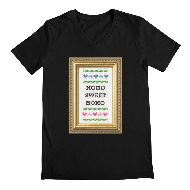 Homo Sweet Homo Men's Regular V-Neck by Subversive Cross Stitch