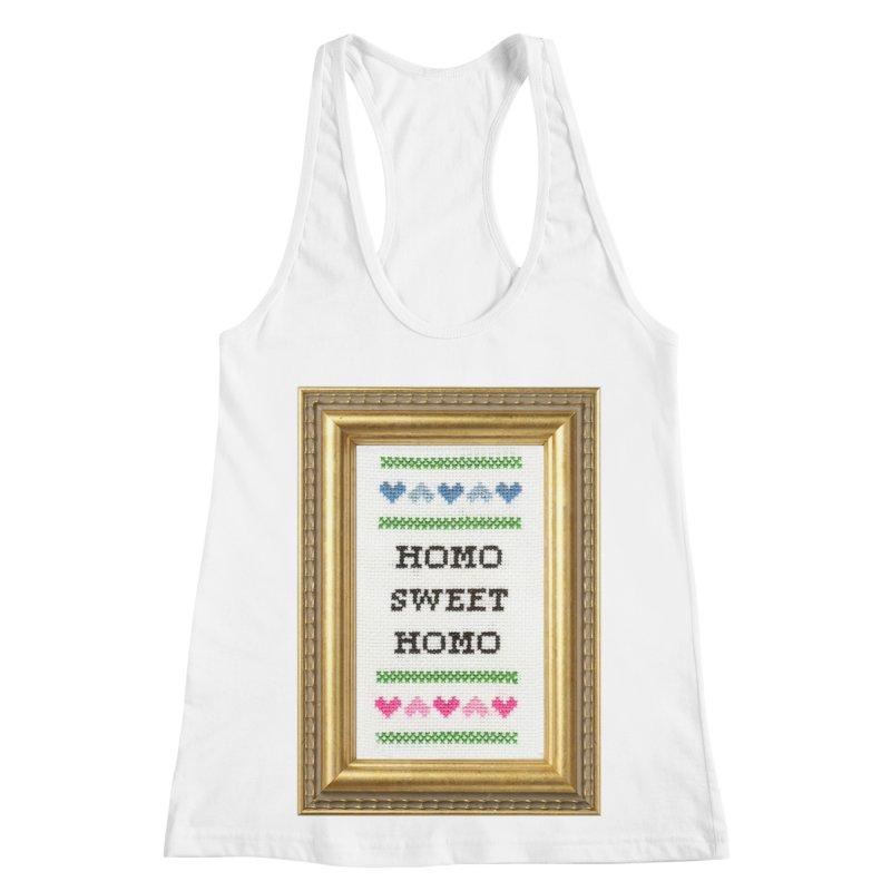 Homo Sweet Homo Women's Racerback Tank by Subversive Cross Stitch