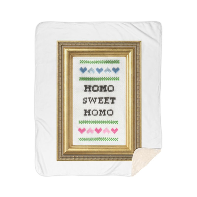 Homo Sweet Homo Home Sherpa Blanket Blanket by Subversive Cross Stitch