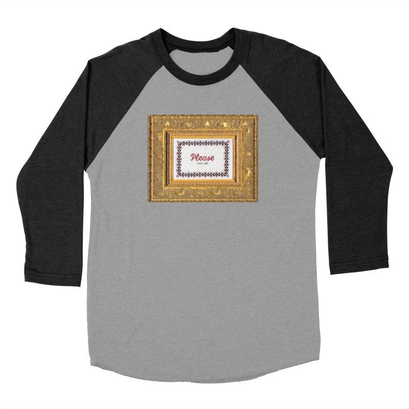 Please Fuck Off Men's Baseball Triblend Longsleeve T-Shirt by Subversive Cross Stitch