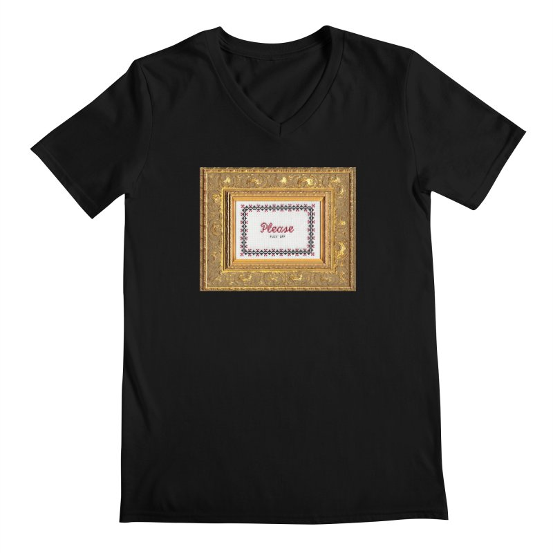 Please Fuck Off Men's Regular V-Neck by Subversive Cross Stitch